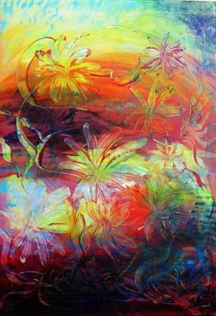 Fargerike blomster 70x100 cm