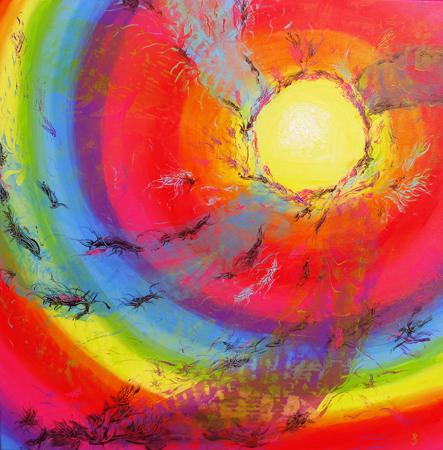 Regnbuespiralen 100x100 cm