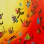 Svevende regnbueblomster 70x100 cm